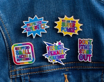 Wooden Pin Badge Set, Set Of Five Badges, Rainbow Pin Badges, Colourful Motivational Badges, Positive Thinking Badge Pack, Positivity Pins