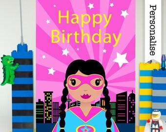 Superhero Girl Birthday Card, Supergirl Birthday Card, Super Hero Girl Card, Girls Personalised Card, Super Girl Card, Superhero Girl Party