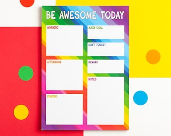 Rainbow Daily Planner Notepad, Be Awesome Today, Colourful A5 Daily Tasks Pad, Daily Organiser, Goal Setting Desk Pad, Productivity Notepad