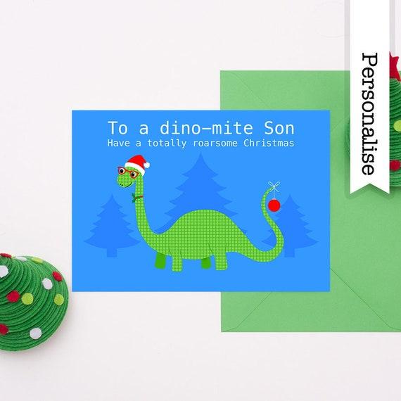 Weihnachtskarte Sohn Enkel Weihnachtskarte Dinosaurier   Etsy