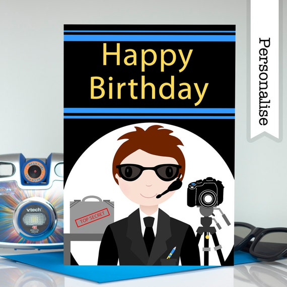 Spy Birthday Card Boys Birthday Card Secret Agent Birthday Etsy