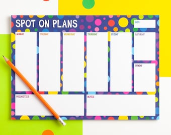 Weekly Planner Notepad, Rainbow Spots A4 Weekly Desk Planner Pad, Spot On Plans Desk Pad, Colourful Weekly Notepad, Undated Weekly Schedule