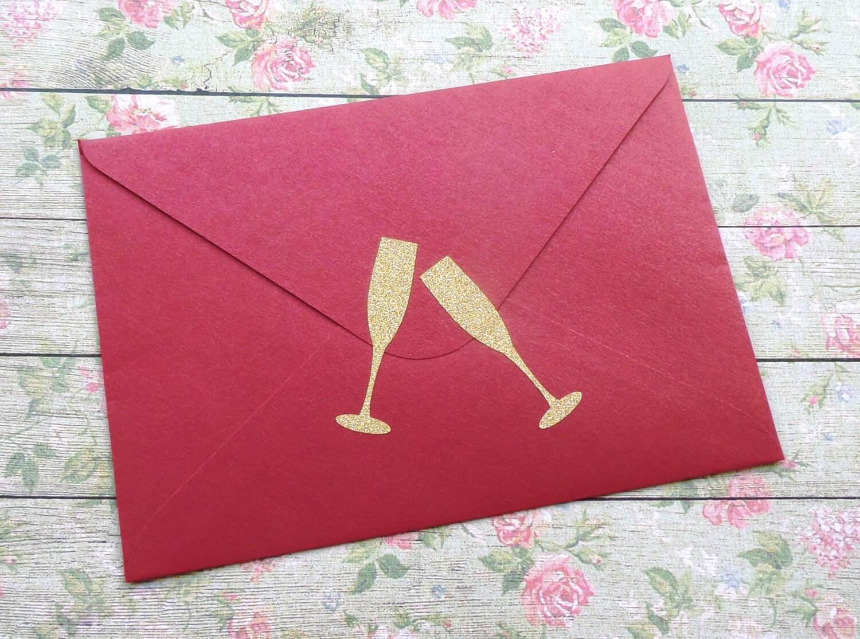 30 gold glitter Champagne flute stickers, wedding invitation seals ...