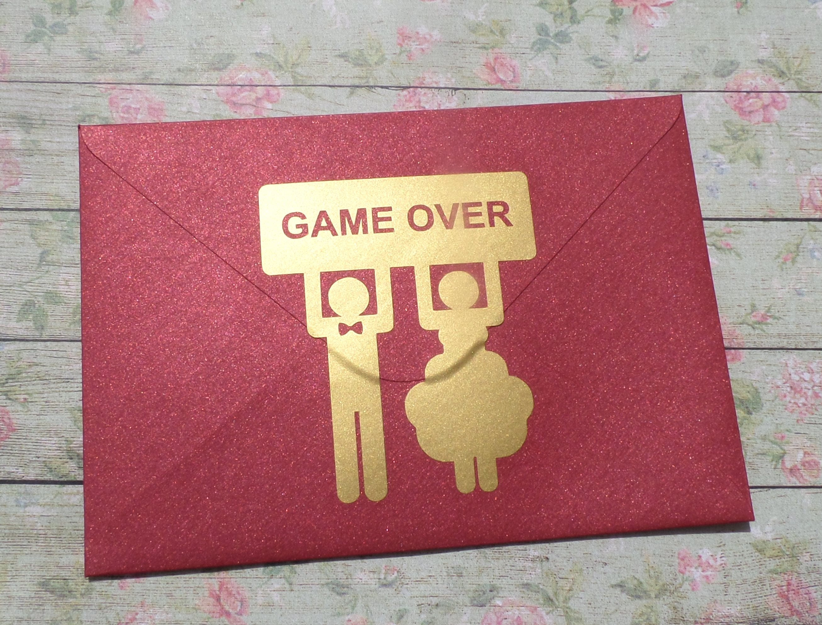 8 GAME OVER stickers with bride and groom funny wedding | Etsy