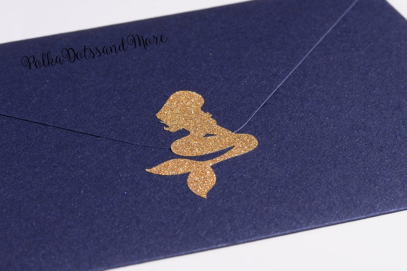 nautical envelope seal under the sea party decoration 24 gold glitter mermaid stickers favors purple mermaid party