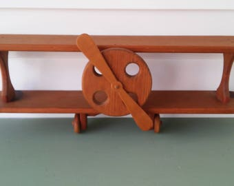 A Vintage 1980s Bi Plane Wood Childs Room Airplane Shelf Wall Hanging