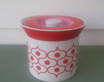 A Vintage Retro Happy Chic Ceramic, By Jonathan Adler, White, Orange And Pink