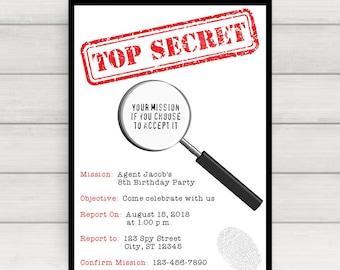Spy Invitation, Spy Party Invitation, Spy Birthday Invitation