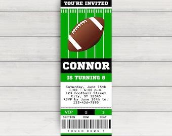 Football Invitation, Football Party Invitation, Football Birthday Invitation, Football Ticket Invitation