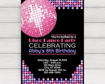 Disco Invitation, Disco Party Invitation, Disco Birthday Invitation