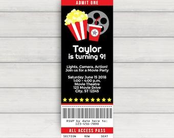 Movie Party Invitation - Movie Birthday Invitation - Movie Night Party Invitation - Movie Birthday Party Invitation