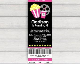 Movie Ticket Invitation, Movie Party Invitation, Movie Birthday Invitation