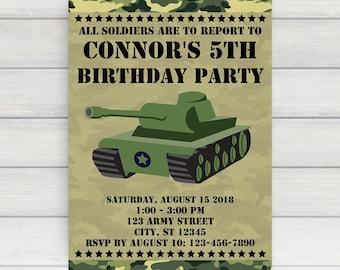 Army Invitation - Army Party Invitation - Army Birthday Invitation - Army Birthday Party Invitation