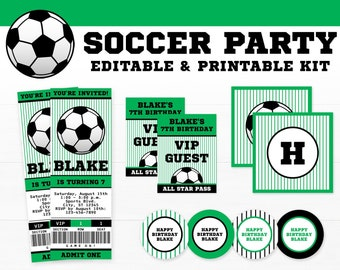 Soccer Party Decorations - Soccer Birthday Party - Printable Soccer Party - INSTANT DOWNLOAD