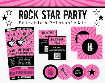Rock Star Party Decorations - Rockstar Birthday Party - Printable Rock Star Party - INSTANT DOWNLOAD