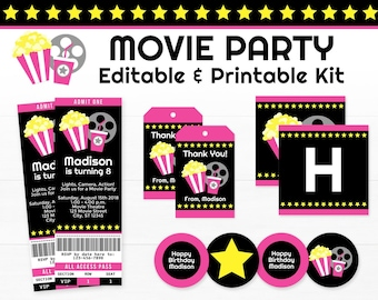 Movie Party Decorations - Movie Birthday Party - Printable Movie Night Party - INSTANT DOWNLOAD