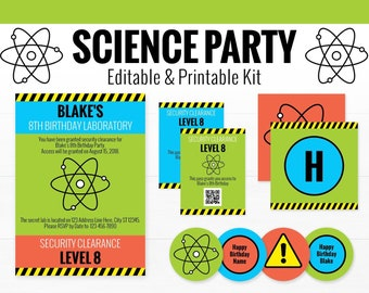 Science Party Decorations - Sience Birthday Party - Printable Mad Scientist Party - INSTANT DOWNLOAD