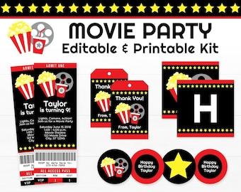 Movie Ticket Invitation. Movie Party Decorations, Movie Birthday Party Supplies