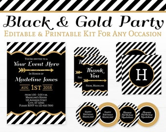 Black and Gold Party Decorations - Black and Gold Graduation - Black and Gold Bridal Shower - INSTANT DOWNLOAD