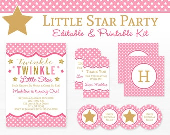 Twinkle Twinkle Little Star Party Decorations - Girls First Birthday Party - Printable Pink and Gold First Birthday Party - INSTANT DOWNLOAD