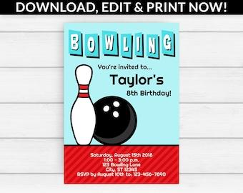 Bowling Invitation - Bowling Party Invitation - Bowling Birthday Invitation - Bowling Birthday Party Invitation