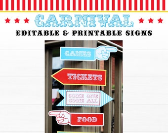Circus Party Signs, Carnival Party Signs, Circus Direction Signs, Carnival Direction Signs