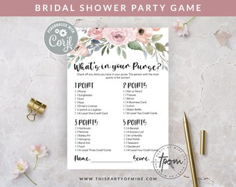 Bridal Shower Party Game - What's in your Purse Game - Watercolor Floral Bridal Shower Game - Editable Text