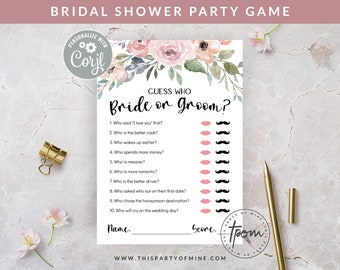 Bridal Shower Party Game - Bride or Groom Guess Who Game - Watercolor Floral Bridal Shower Game - Editable Text