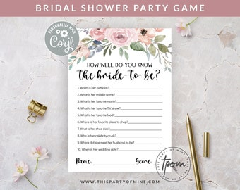 Bridal Shower Party Game - How Well Do You Know the Bride to Be Game - Watercolor Floral Bridal Shower Game - Editable Text