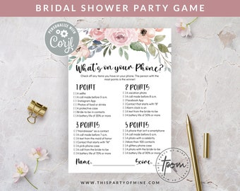 Bridal Shower Party Game - What's on your Phone Game - Watercolor Floral Bridal Shower Game - Editable Text