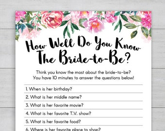 how well do you know the bride to be printable bridal shower game instant download bride trivia pink peonies floral wedding shower game