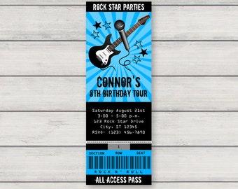 rock star concert ticket invitation printable girl pink etsy