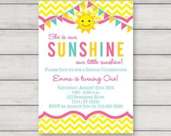 You Are My Sunshine Birthday Invitation Etsy