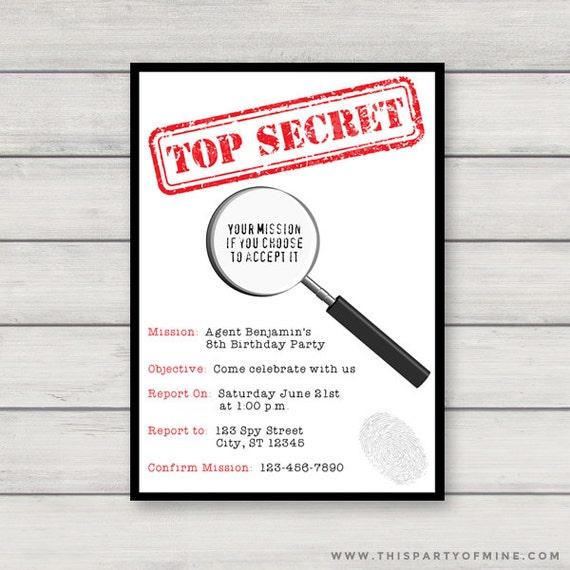 Bien-aimé Espion Invitation imprimable Agent Secret Invitation fête NV92