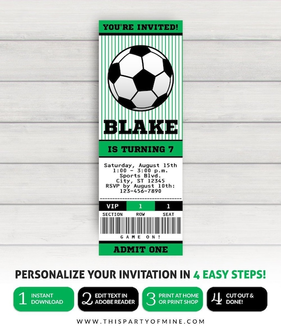 Fussball Ticket Einladung Fussball Party Einladung Fussball Geburtstags Einladung
