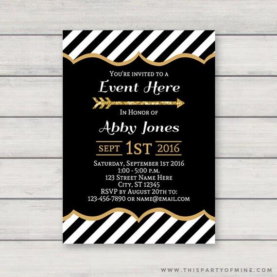 black and gold invitation printable gold and black graduation bridal