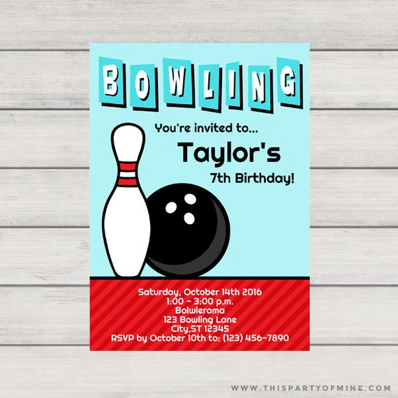 bowling invitation printable football birthday party etsy