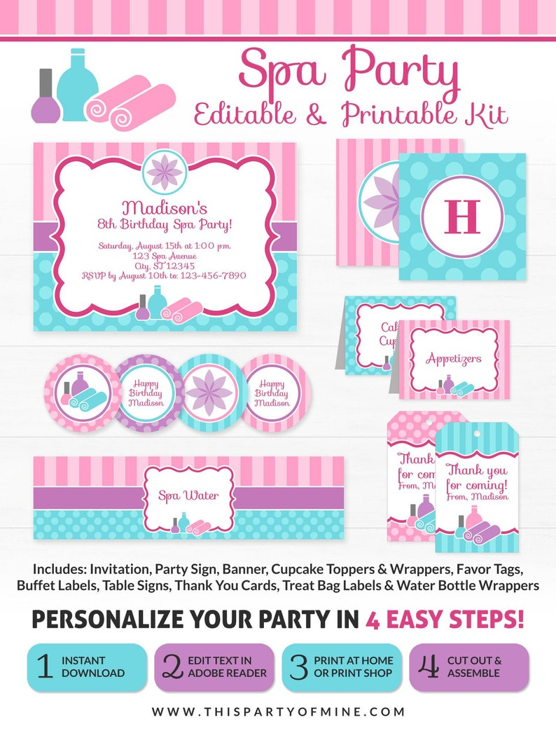 photograph relating to Spa Party Printable titled Spa Bash Decorations - Spa Birthday Social gathering - Printable Spa Occasion - Instantaneous Obtain