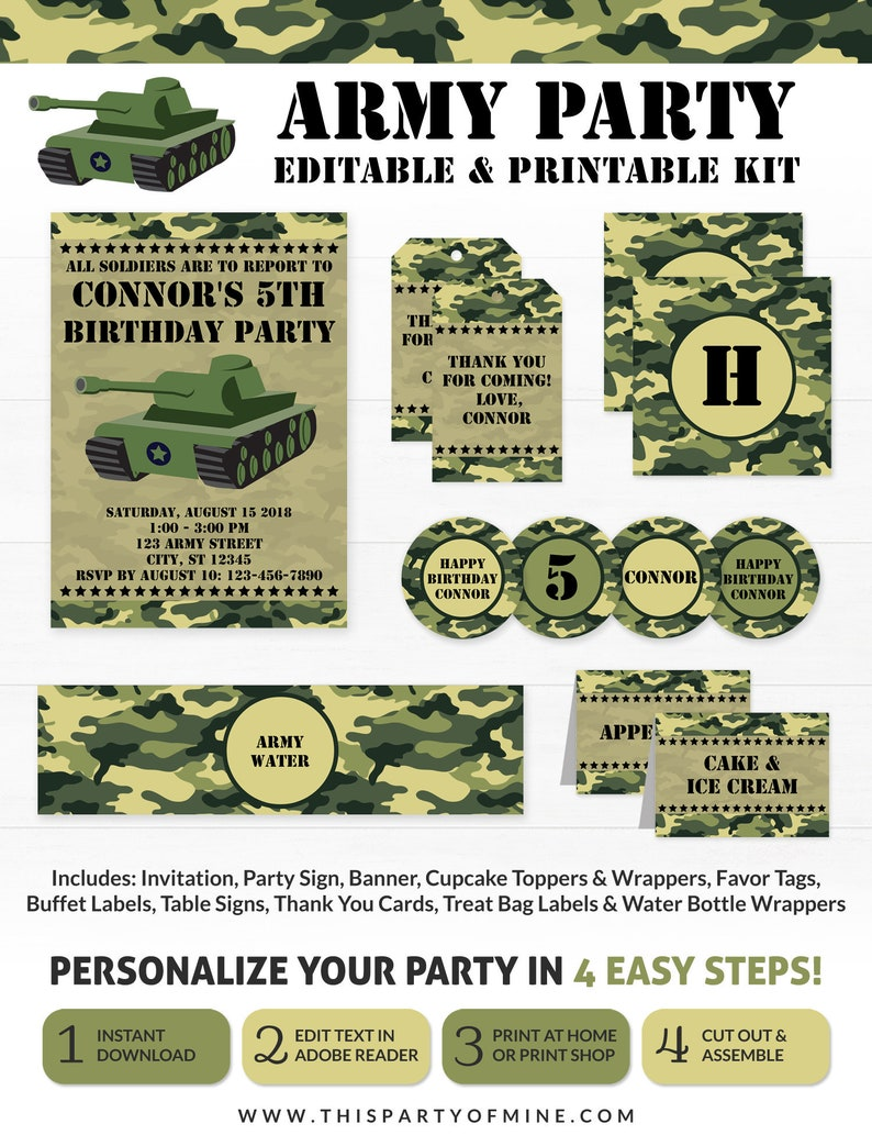 Army Birthday Party Invitations Decorations