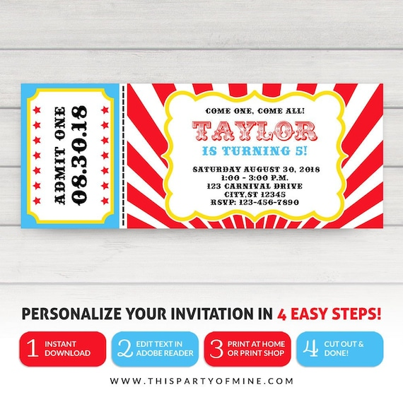 Carnival Ticket Invitation Circus Party Birthday