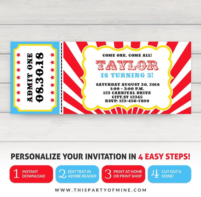 Carnival Ticket Invitation Circus Party