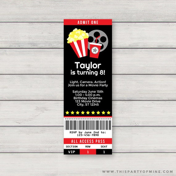 movie ticket invitation printable red movie theatre birthday etsy