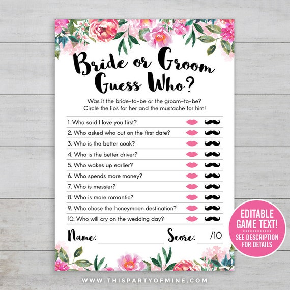 Bride And Groom Trivia Questions: Bridal Shower Game Bride Or Groom Game He Said She Said