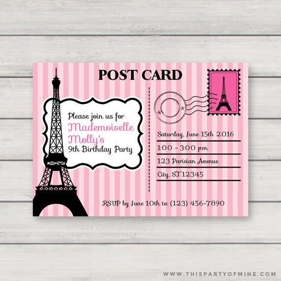 Paris postcard invitation printable pink paris birthday party etsy image 0 filmwisefo