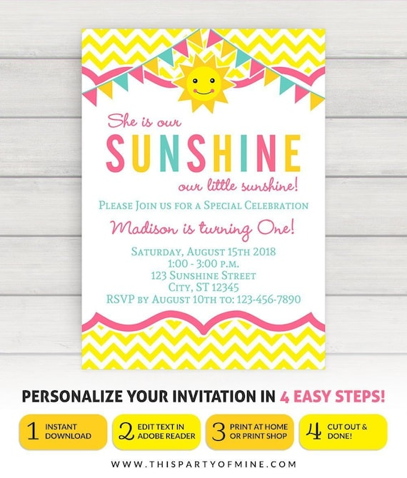You Are My Sunshine Invitation You Are My Sunshine Party Etsy