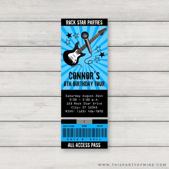 rock star concert ticket invitation printable boy rockstar birthday