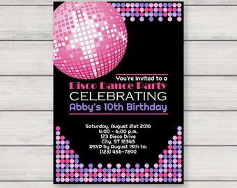 Disco Invitation PRINTABLE Retro Dance Birthday Party Invitation INSTANT DOWNLOAD with Editable Text