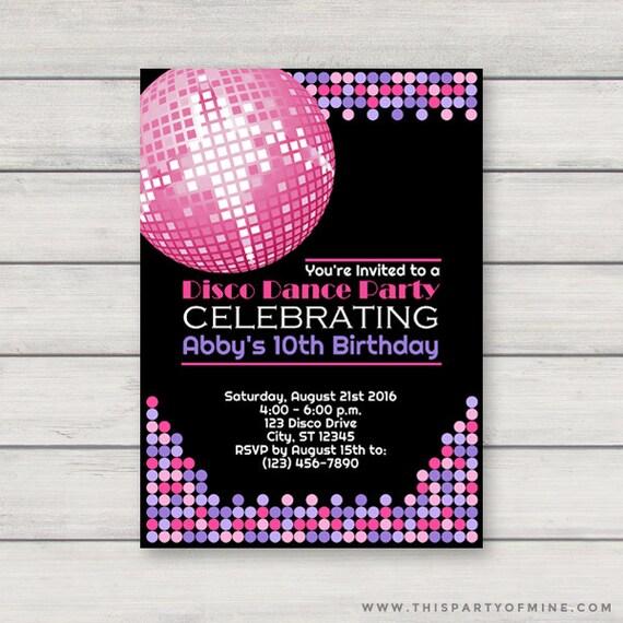 disco invitation printable retro dance birthday party etsy