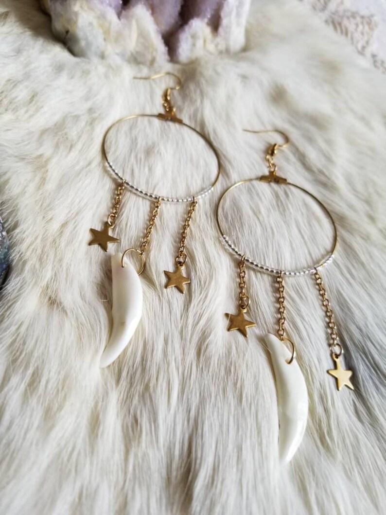 Starry Coyote Fang Hoop Earrings Maera