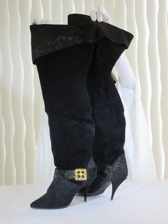 Women's LADY PIRATE BOOTS. Black thigh high split